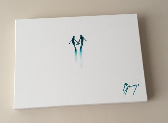 A painting in green ink on a white canvas, two adult silhouettes holding a child in between them that they are swinging