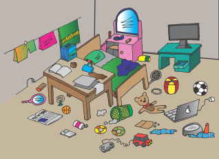 A cartoon of a messy bedroom with floor covered in toys, newspapers, computers, a desk with a drink knocked over, unmade bed, washing line with clothes hanging on it.