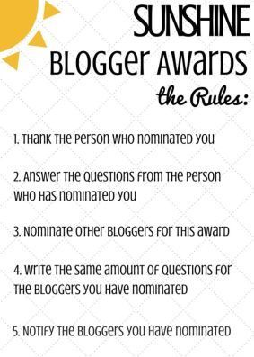 Sunshine blogger awards - the rules - 1. thank the person who nominated you. 2. answer the questions from the person who has nominated you 3. nominate other bloggers for this award 4. write the same amount of questions for the bloggers you have nominated 5. notify the bloggers you have nominated
