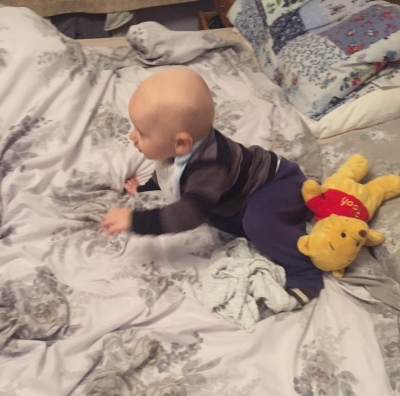 almost bald 10 month old baby wearing a black and grey stripy top and blue trousers crawling over a messy bed with white and grey bed covers. There's a yellow Winnie the pooh teddy behind him